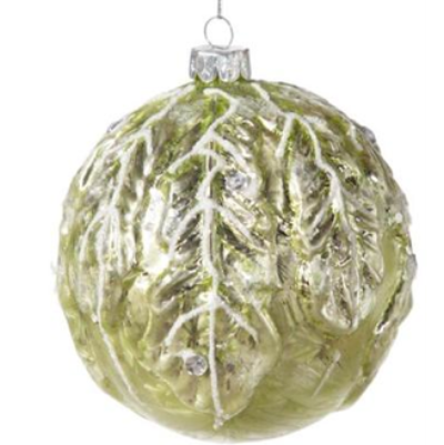 Green Glass Moulded Leaf Ornament-Christmas-Floridus Design-Putti Fine Furnishings