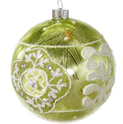 Green Glass Beaded Ornament-Christmas-Floridus Design-Putti Fine Furnishings