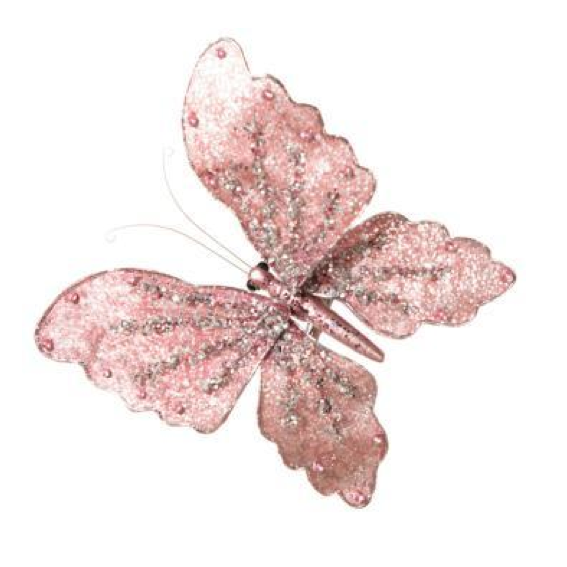 Glittered Pink Butterfly with Clip