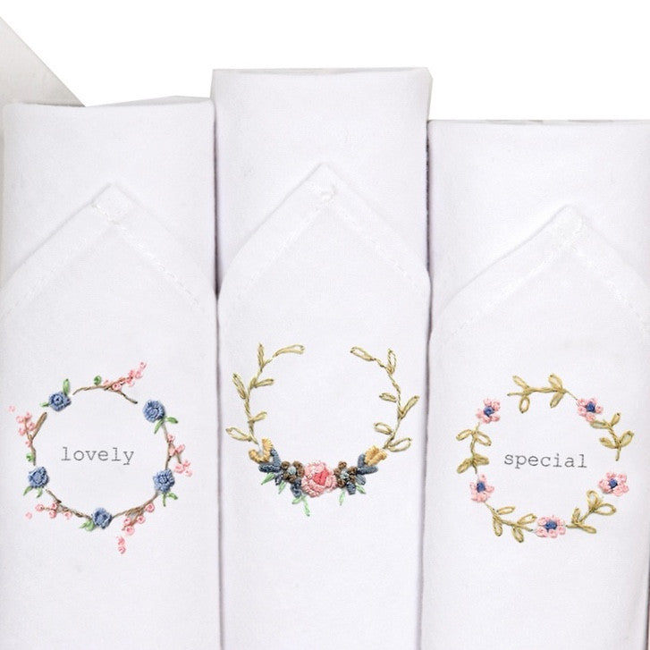 "Tamielle ""Lovely"" Set of Three Embroidered Hankies -  Personal Accessories - Tamielle - Putti Fine Furnishings Toronto Canada - 1"