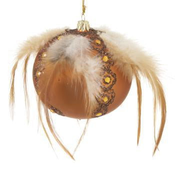 Bohemian Glass Feather Jewel Ball