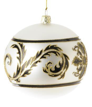 Black & White Damask Bohemian Glass Ball -  Christmas - FD-Floridus Design - Putti Fine Furnishings Toronto Canada