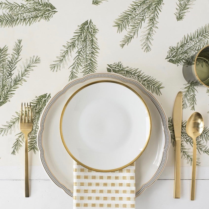 Hester & Cook Evergreen Sprigs Paper Table Runner