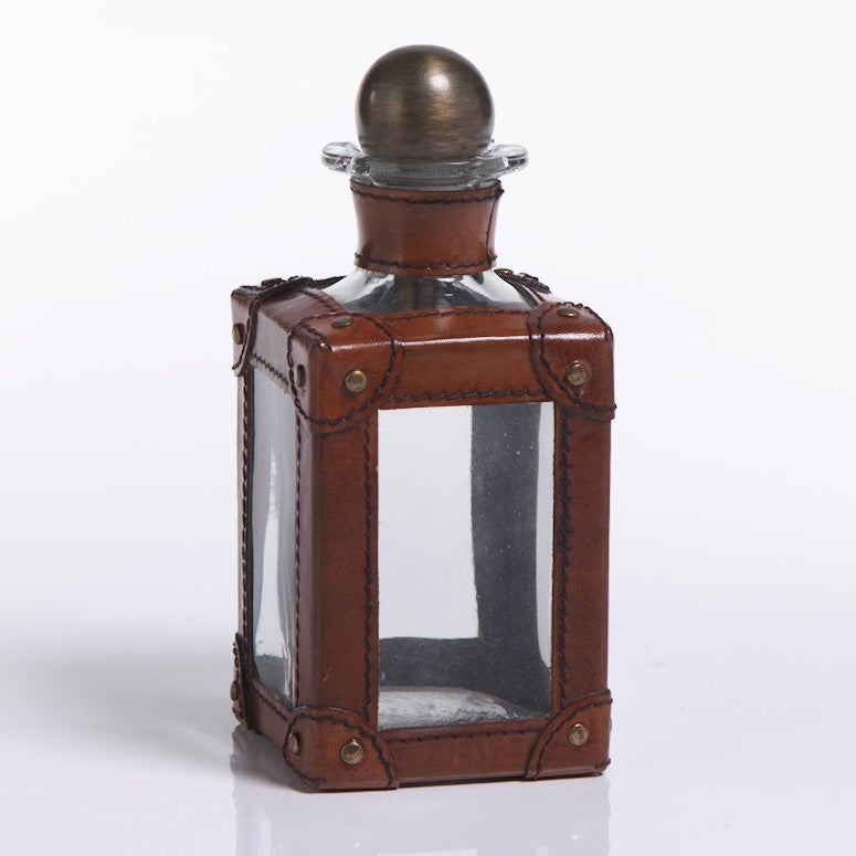Barclay Butera Square Leather and Glass Decanter, ZX-Zodax, Putti Fine Furnishings
