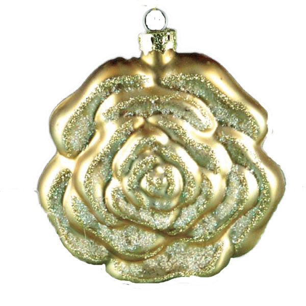 Gold Glass Rose Ornament