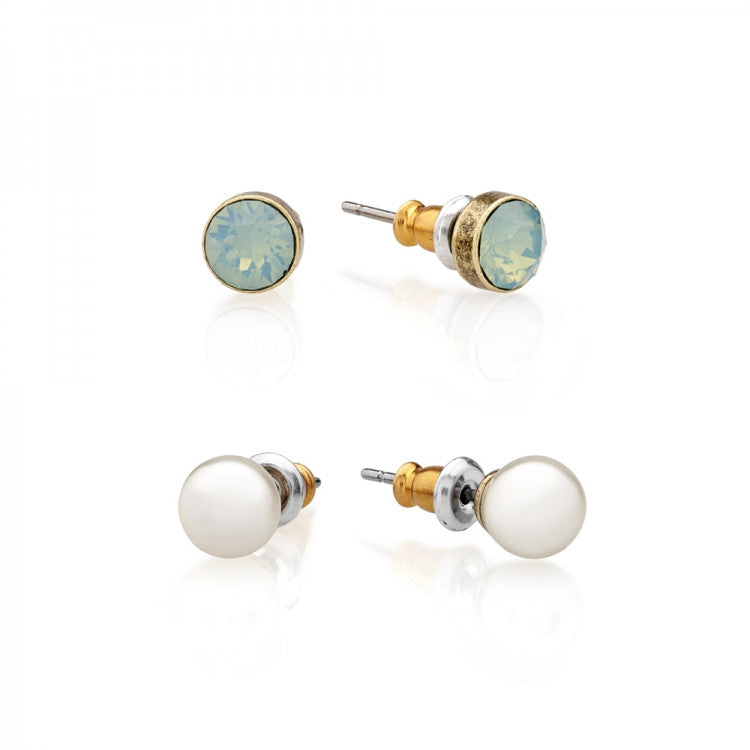 Lovett & Co. Stud Earring Pearl and Swarovski Pacific Opal