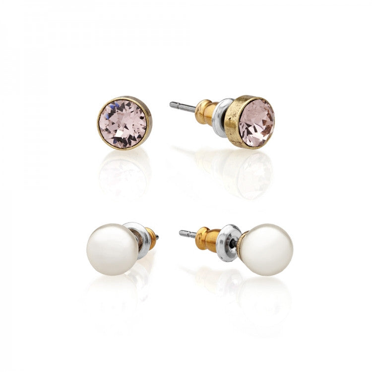 Lovett & Co. Stud Earring Pearl and Swarovski Vintage Rose