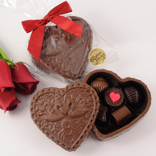 "Valentine ""Swan"" Chocolate Heart Box"