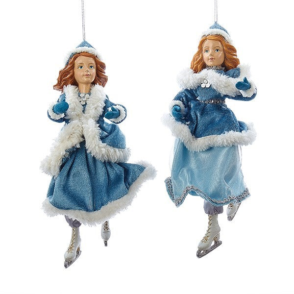 Kurt Adler Aqua with White Fur Skater Ornament | Putti Christmas Decorations