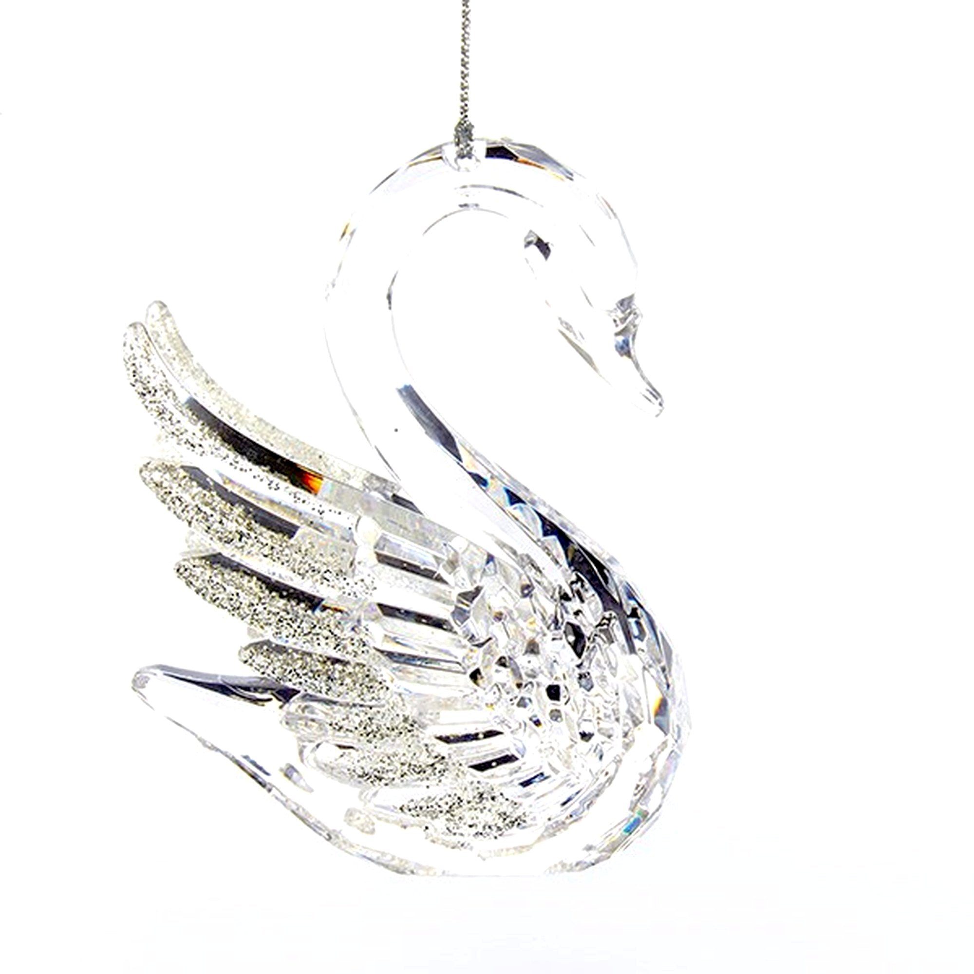 Kurt Adler Clear Swan With Glittered Wings Acrylic Ornament