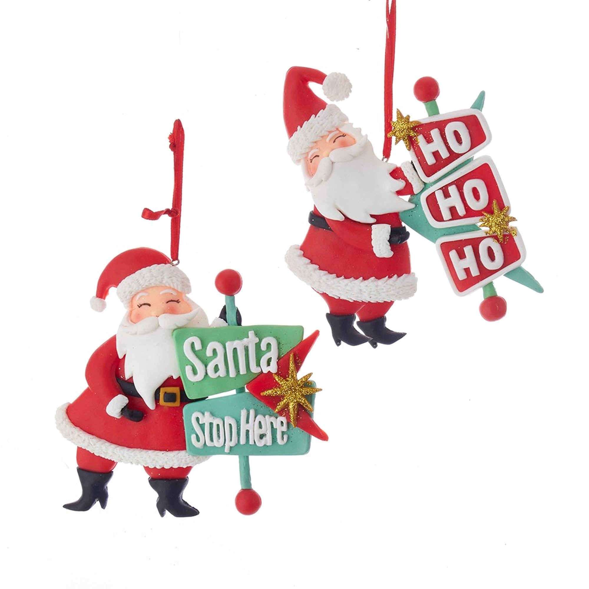 Kurt Adler Santa with Sign Ornament | Putti Christmas Canada
