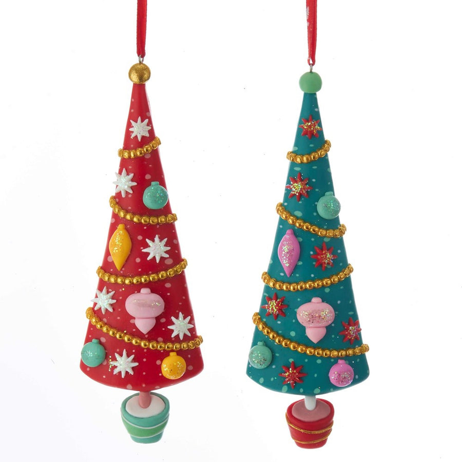 Kurt Adler Red and Green Christmas Tree Ornaments,
