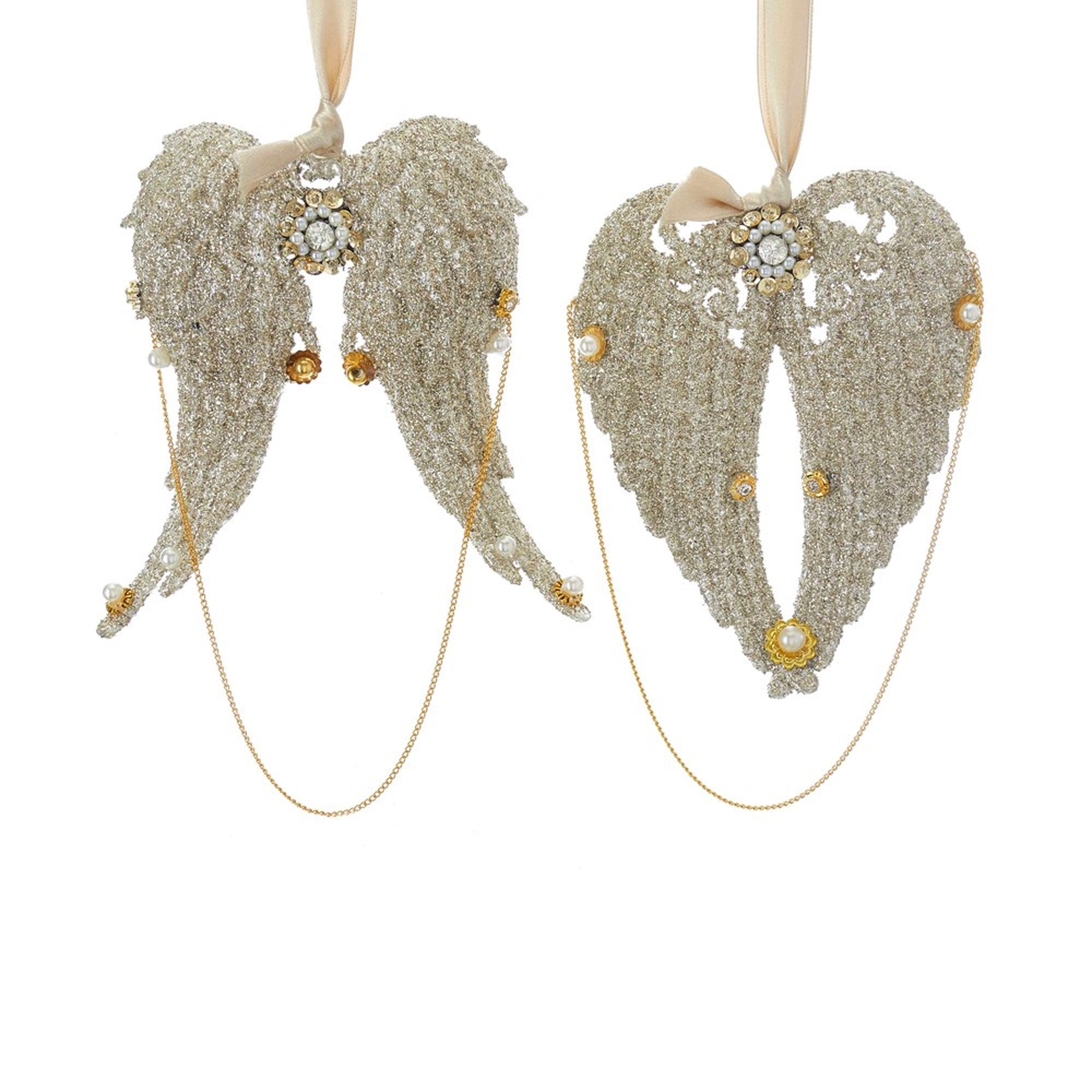 Vintage Glamour Angel Wings Ornaments | Putti Christmas
