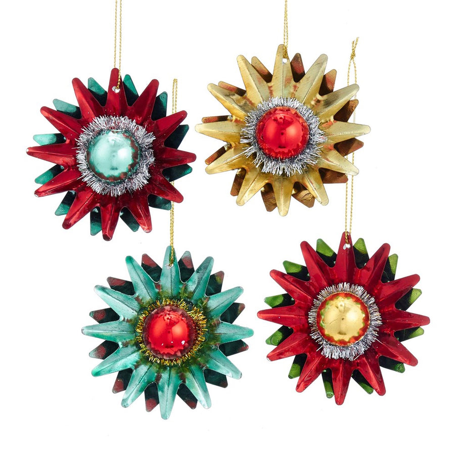 Kurt Adler Tin Starburst With Plastic Ball Ornament