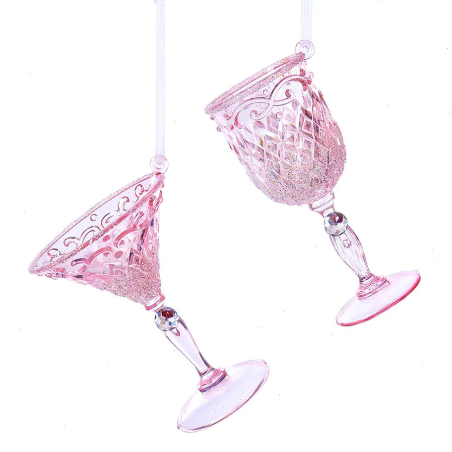 Kurt Adler Pink Wine Glass with Glitter Ornaments | Putti Christmas