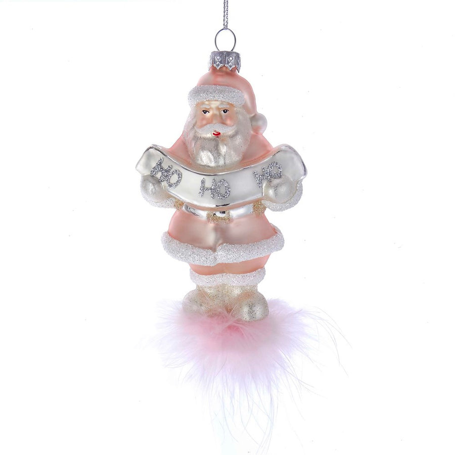 Kurt Adler Pink Santa Glass Ornament  | Putti Christmas