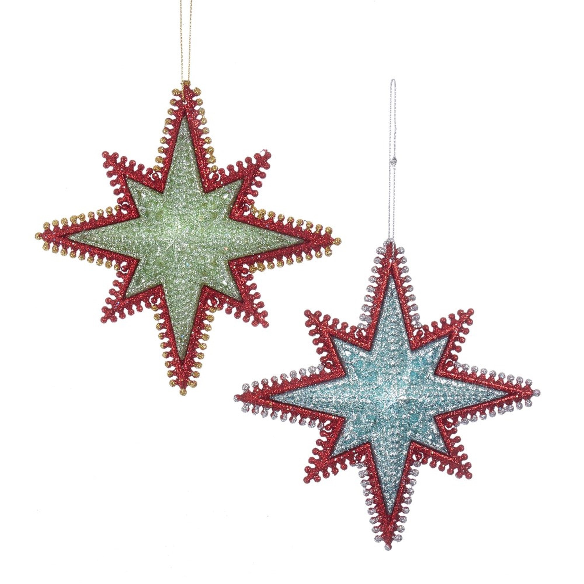 Kurt Adler Aqua and Green Starbursts With Red Edging Ornaments | Putti Christmas
