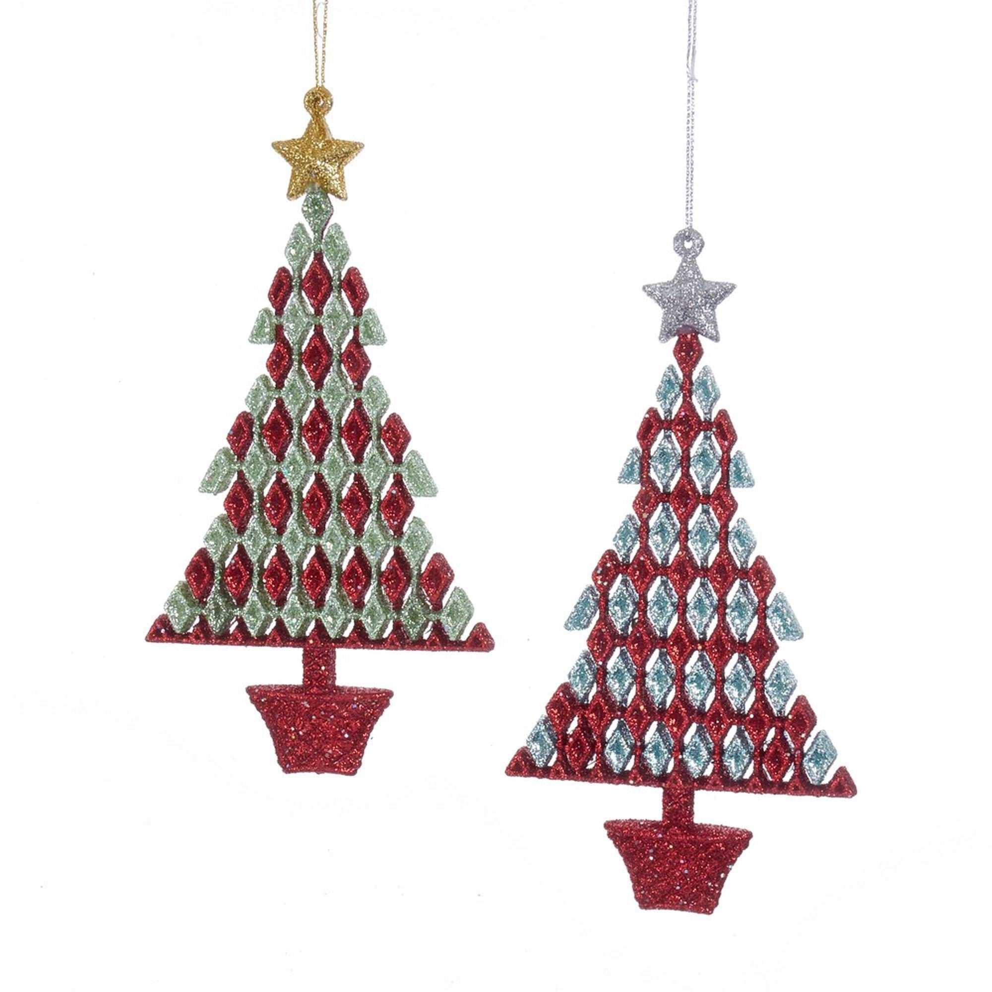 Kurt Adler Red, Green and Aqua Christmas Tree Ornaments - Putti Christmas
