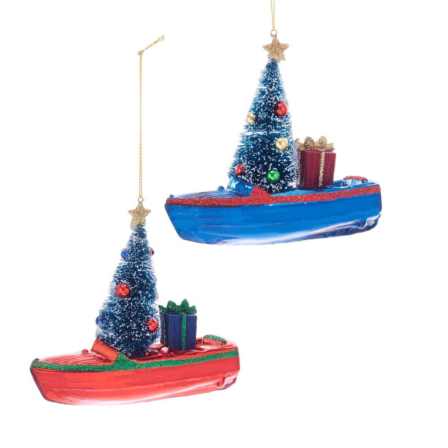 Kurt Adler Boat With Tree Glass Ornament