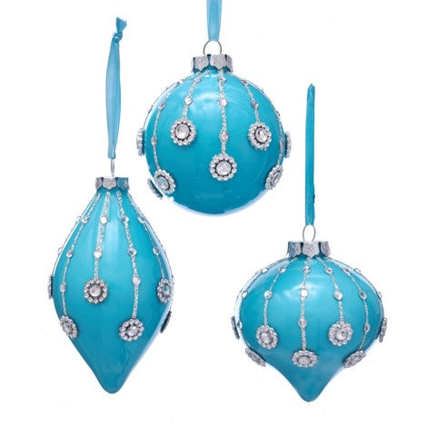 Kurt Adler Tiffany Blue Glossy Ornaments with Gems | Putti Christmas