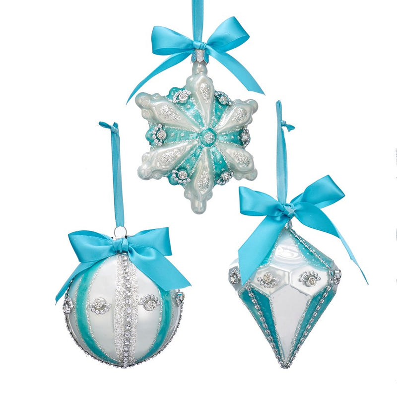 Kurt Adler Tiffany Blue Ball, Finial & Snowflake Ornaments | Putti Christmas