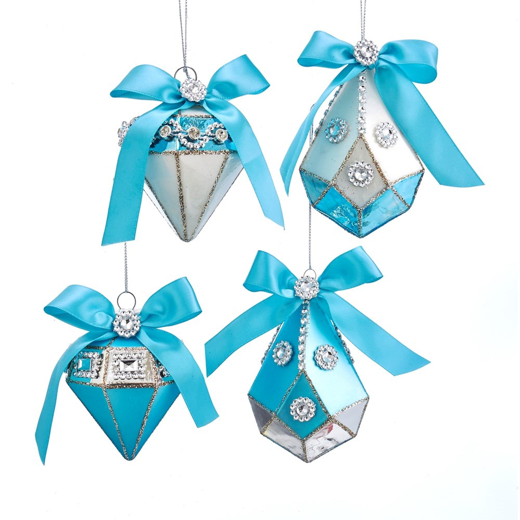 Kurt Adler Tiffany Blue Drop Ornaments with Bow | Putti Christmas