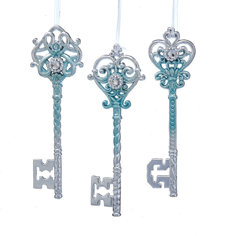Kurt Adler Tiffany Blue and Silver Key Ornaments | Putti Christmas