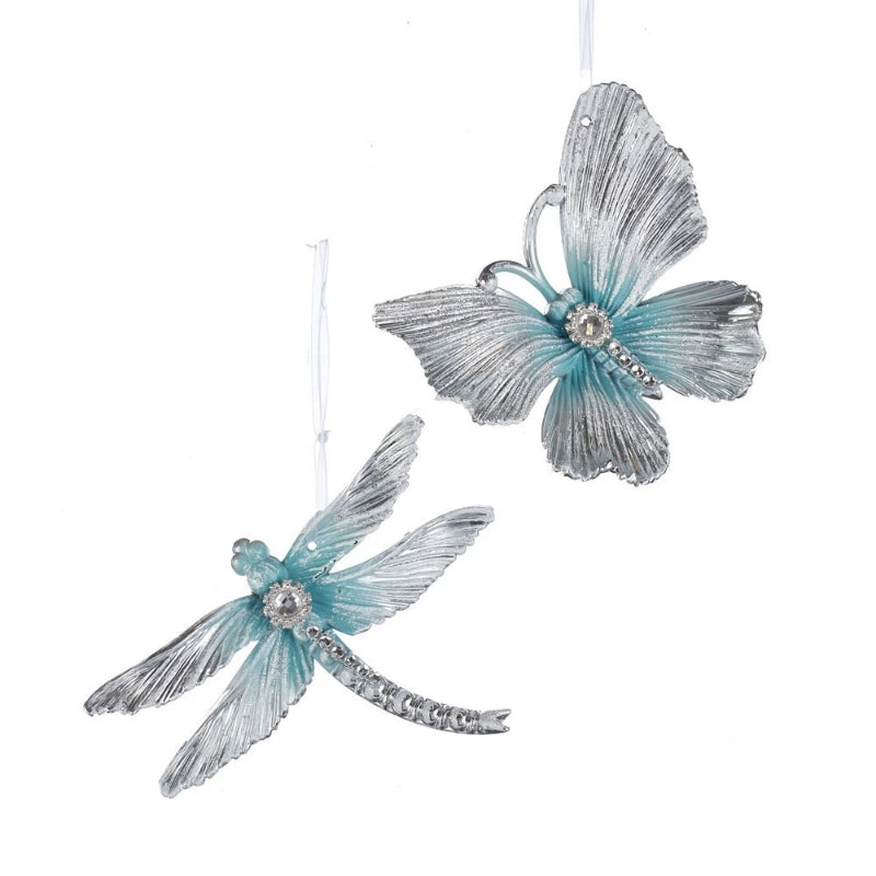 Kurt Adler Blue Butterfly and Dragonfly Ornament with Gems | Putti