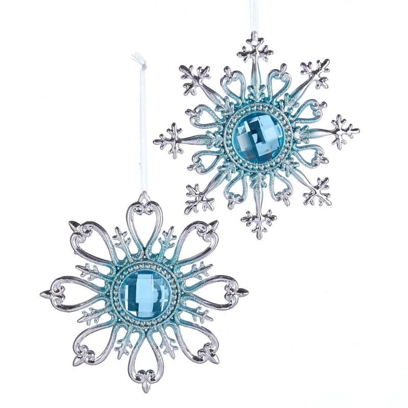 Kurt Adler Tiffany Blue and Silver Snowflake Ornament | Putti Christmas