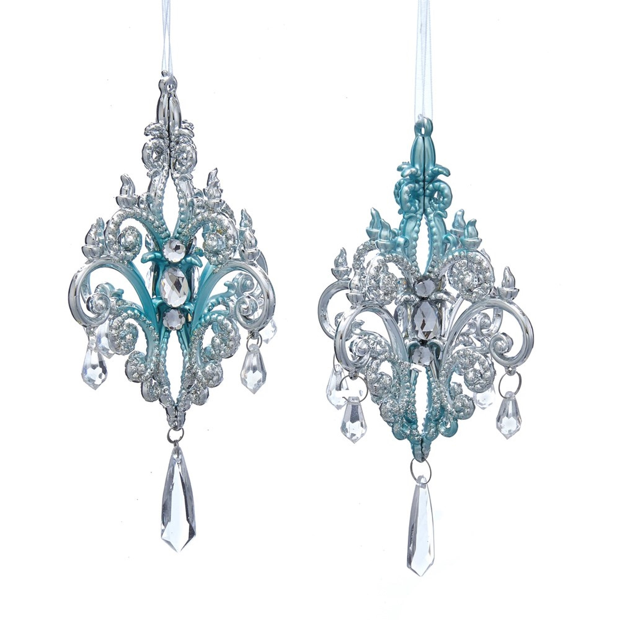 Kurt Adler Tiffany Blue and Silver Chandelier Ornaments | Putti Christmas