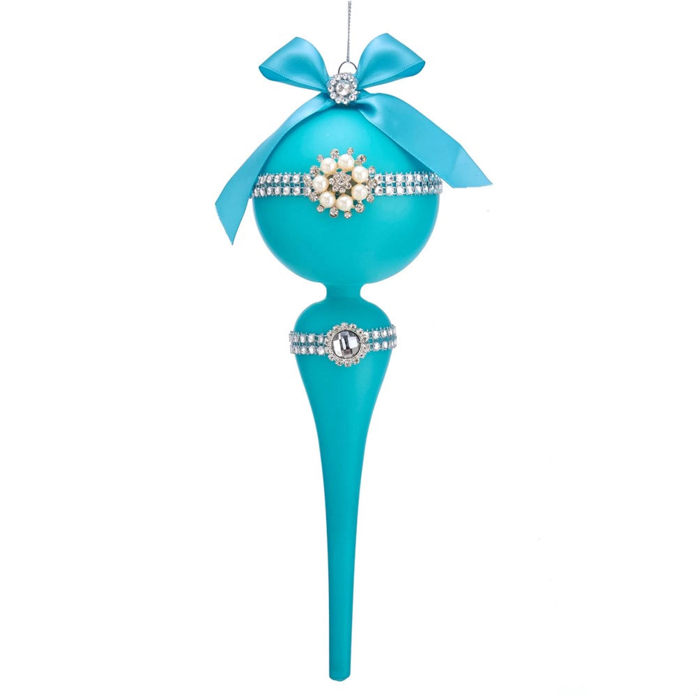 Kurt Adler Matte Tiffany Blue Finial Ornament with Gems