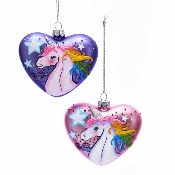 Kurt Adler Glass Unicorn Heart Ornament