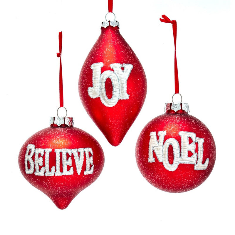 Matte Red with Words Glass Ornaments | Putti Christmas Decorations