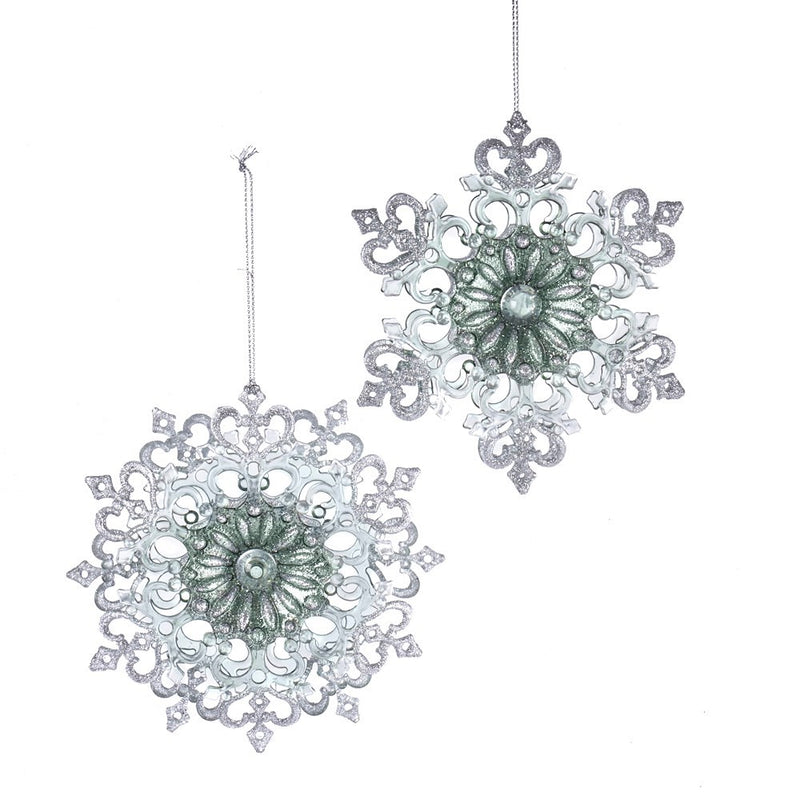 Kurt Adler Sage Green and Clear Snowflake Ornament | Putti Christmas