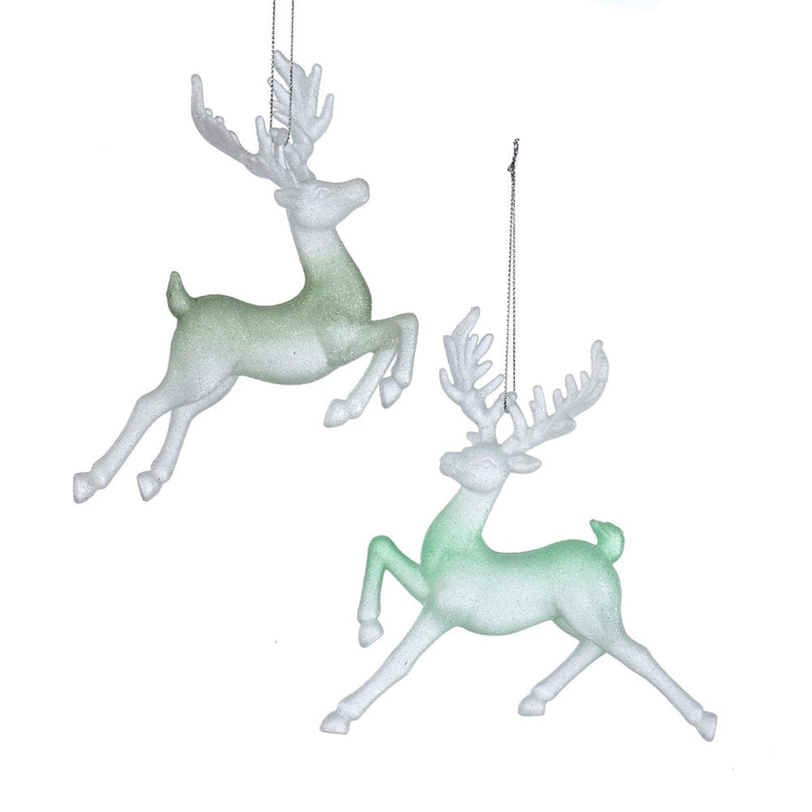 Kurt Adler Sage Green with Frost Deer Ornament