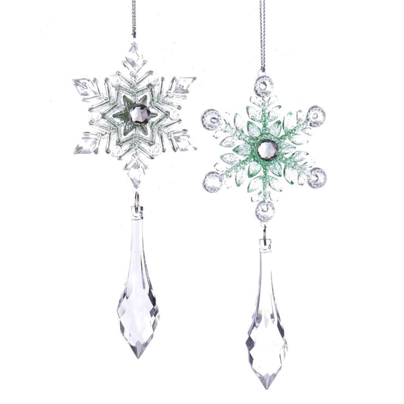 Kurt Adler Sage Green and Clear Snowflake With Drop Ornament | Putti Christmas