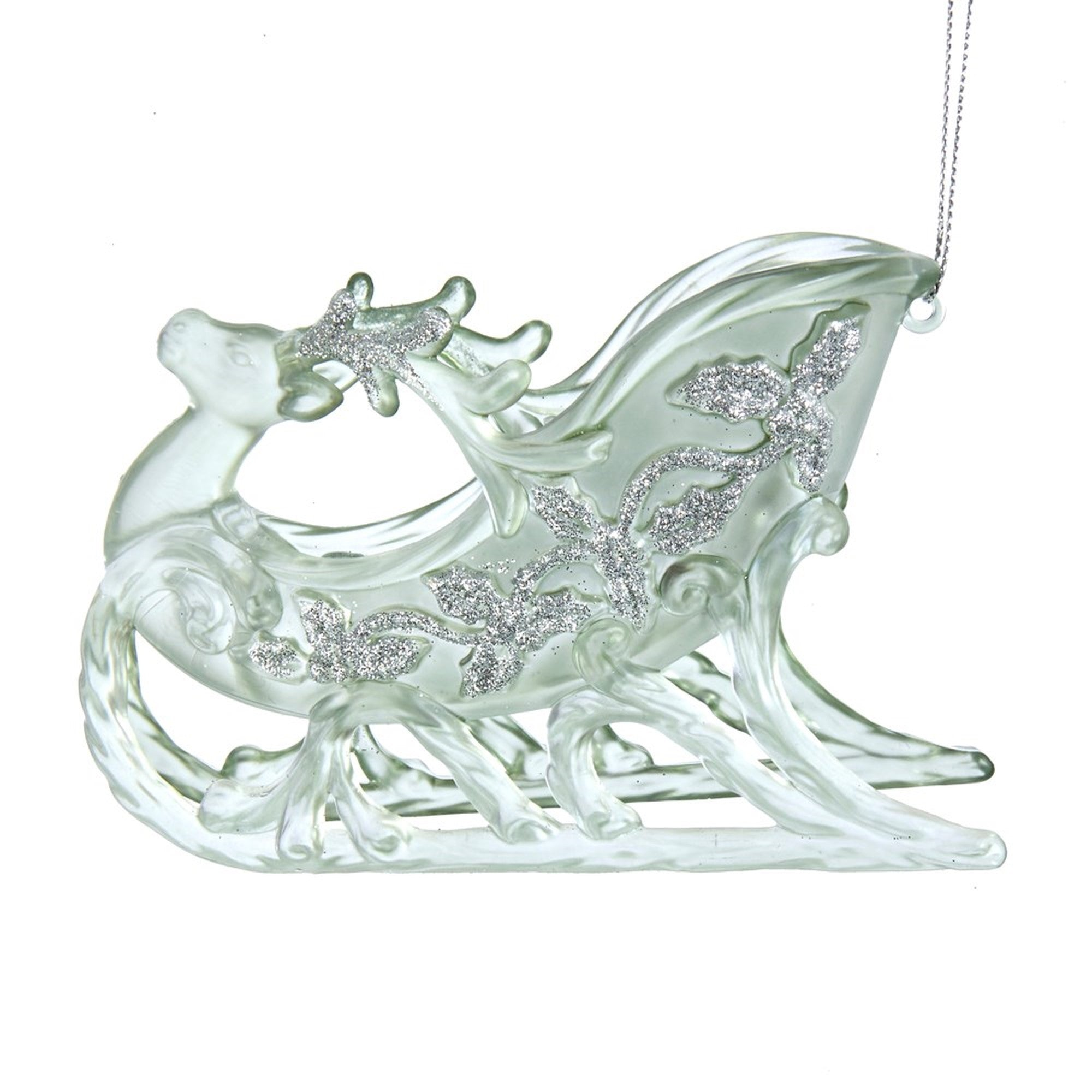 Sage Green Reindeer Sleigh Ornament | Putti Christmas Canada