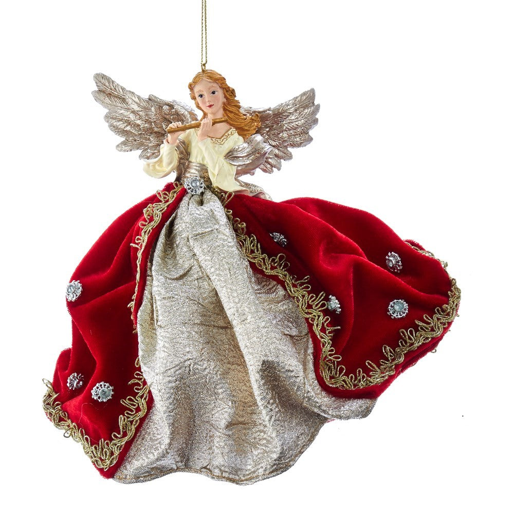 Kurt Adler Ruby Platinum Flying Angel Ornament