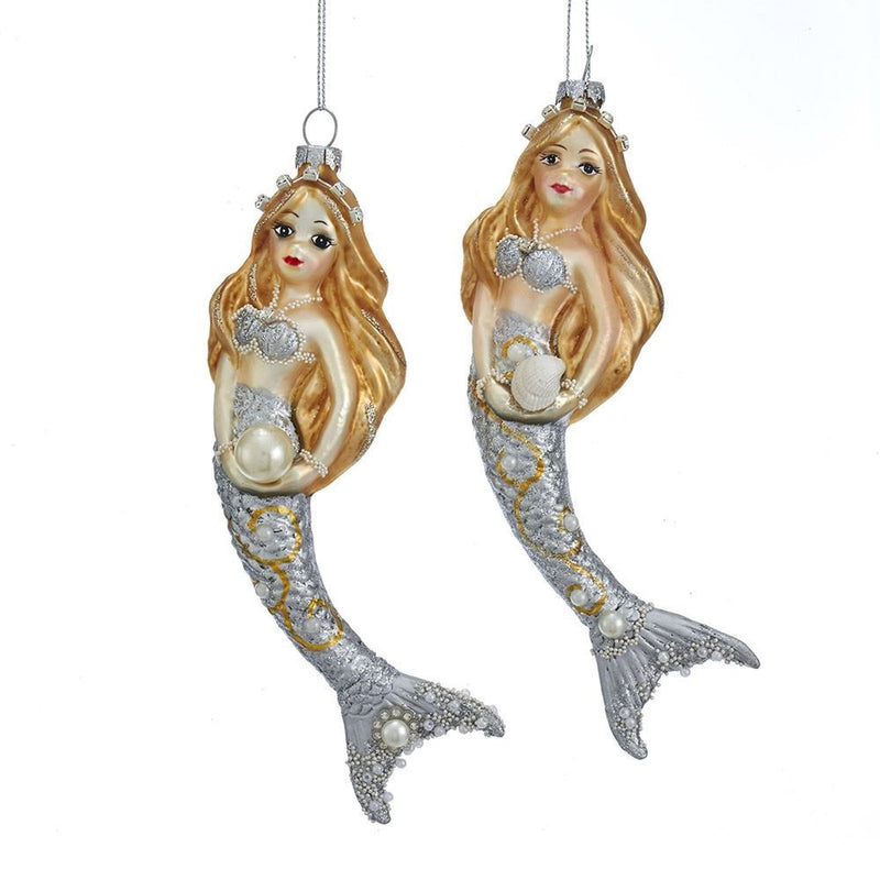 Kurt Adler Silver and Gold Glass Mermaid Ornaments | Putti Christmas Canada