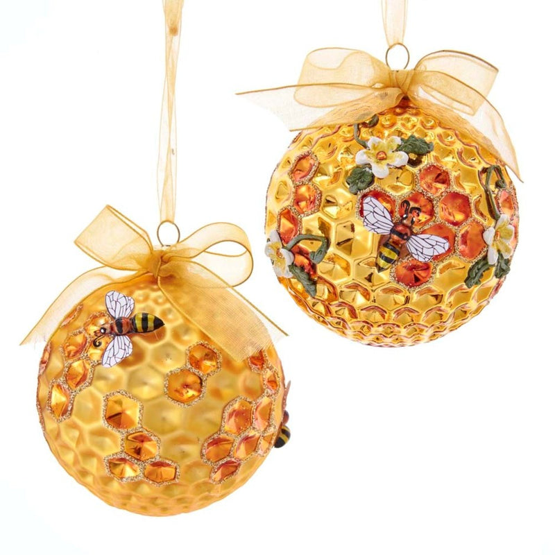 Kurt Adler Honeycomb Bee & Flower Glass Ball Ornament | Putti Christmas