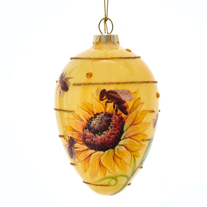 Kurt Adler Bee with Sunflower Glass Egg Ornament | Putti Christmas