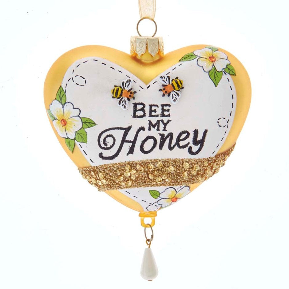 "Kurt Adler ""Bee my Honey"" Glass Heart Ornament 