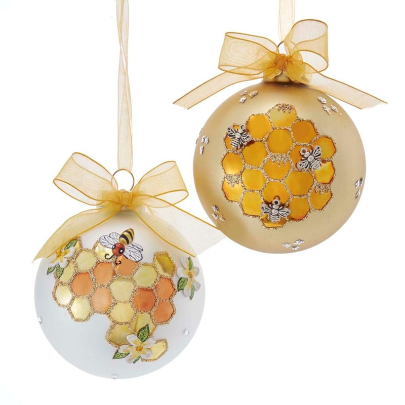 Kurt Adler White Honeycomb Bee Glass Ball Ornament | Putti Christmas