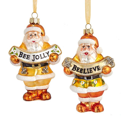 "Kurt Adler ""Beelieve"" Santa Glass Ornament"