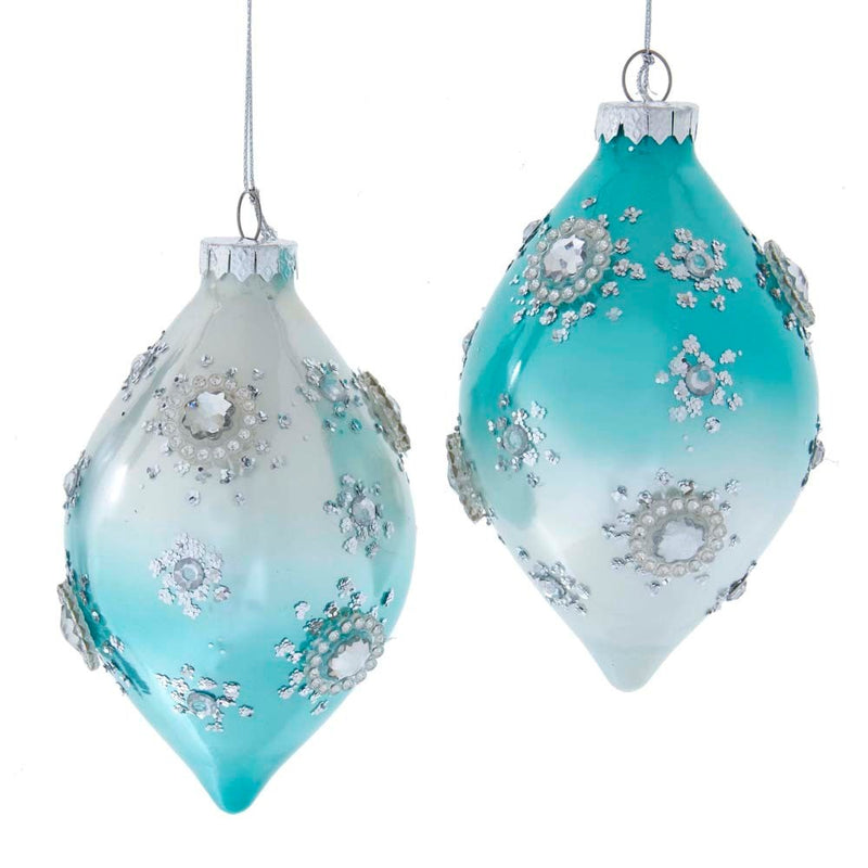 Kurt Adler Aqua Tiffany Blue  Glass Double Point Ornament | Putti