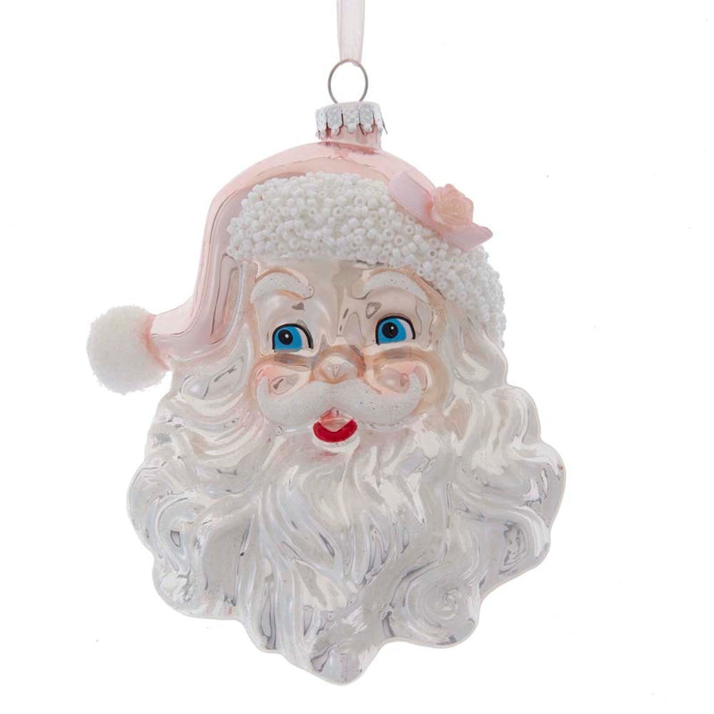 Kurt Adler Pink Santa Head Glass Ornament | Putti Christmas