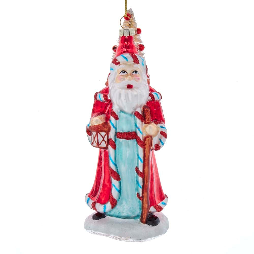 Kurt Adler Retro Mint Candy Cane Santa Glass Ornament | Putti Christmas