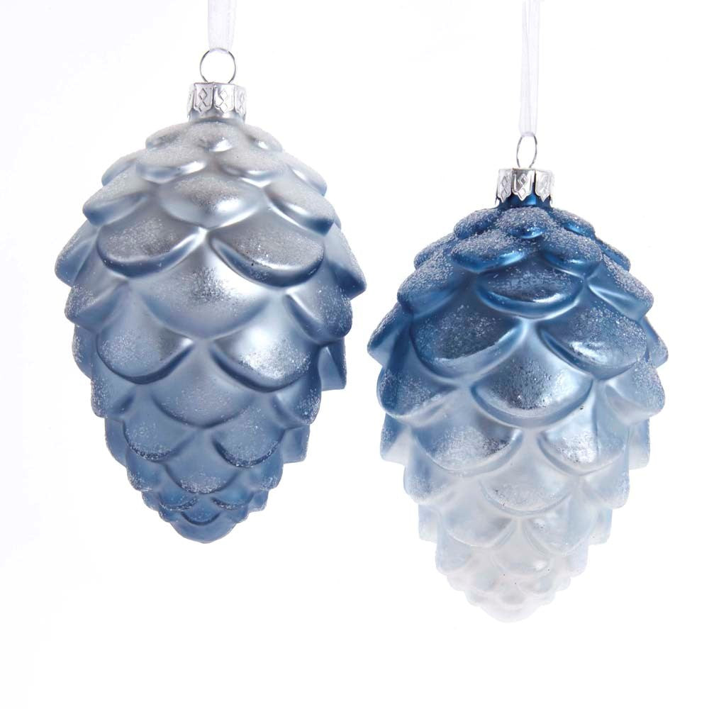 Blue and White Pinecone Glass Ornament  | Putti Celebrations