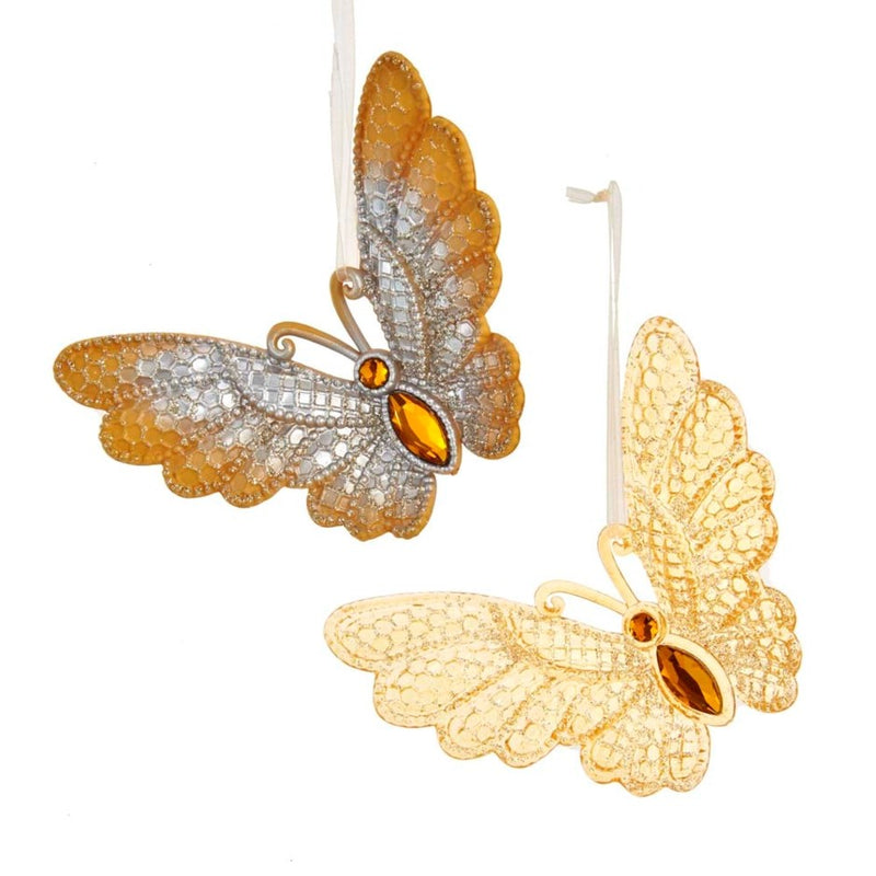 Kurt Adler Gold and Silver Butterfly Ornaments | Putti Christmas