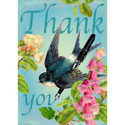 """Thank You"" Swallow & Pen Greeting Card"